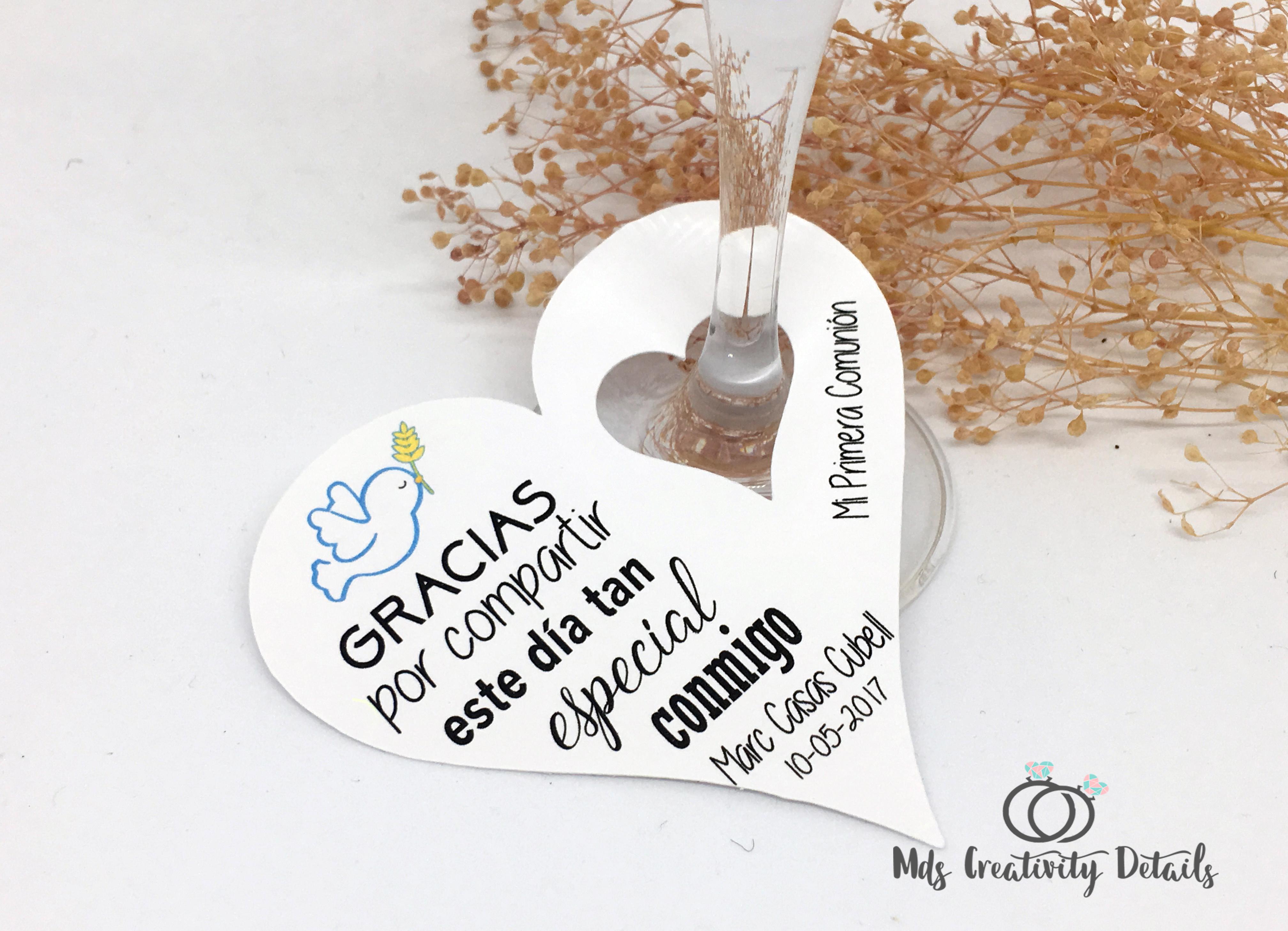 tarjeta agradecimiento comuniÓn paloma niÑo mds creativity details